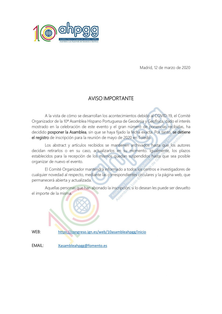 10th Spanish-Portuguese Assembly of Geodesy and Geophysics postponned