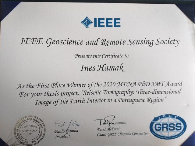 IEEE Geosciences and Remote Sensing Society atribui 2020 MENA PhD 3MT Award a Inês Hamak, investigadora do ICT